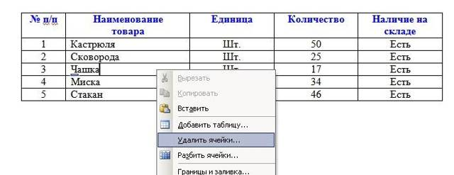 Как добавлять или удалять столбцы и строки из таблицы в word