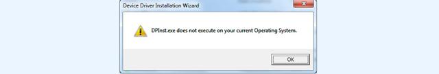 Как исправить ошибку «Невозможно выполнить dpinst.exe на имеющейся операционной системе»