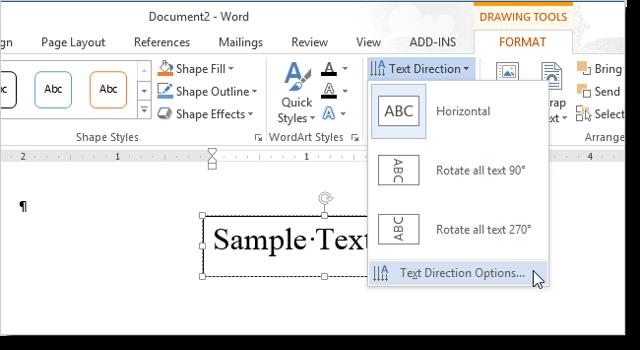 Как поменять направление текста в word